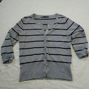 Maurices 3/4 sleeve gray & black striped cardigan